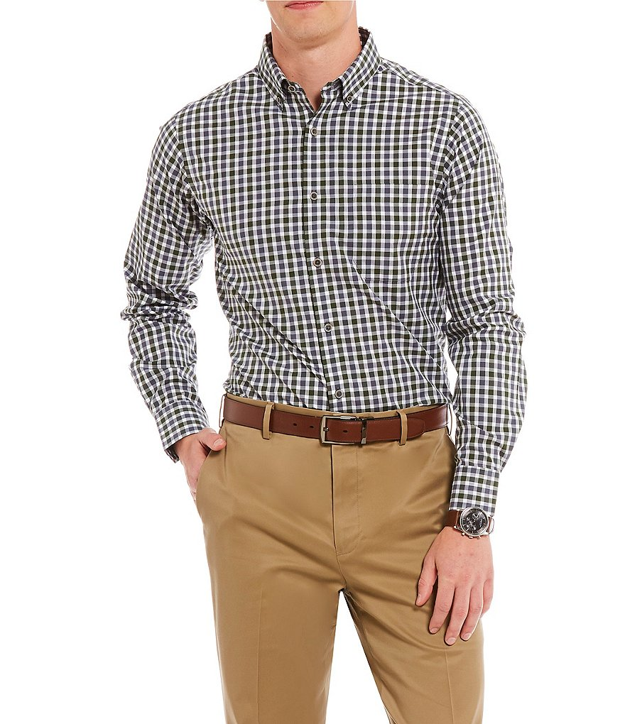 Hart Schaffner Marx Dobby Plaid Button-Down Collar Sportshirt