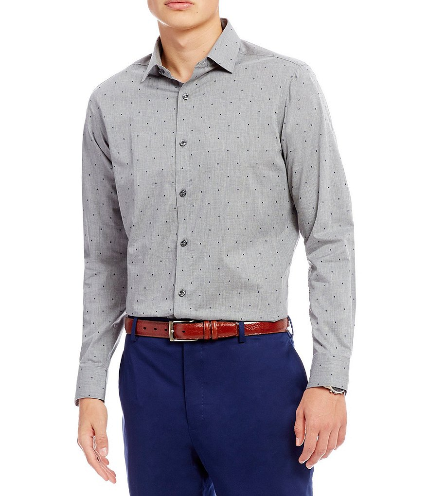 Hart Schaffner Marx Heather Clip Dobby Long-Sleeve Shirt