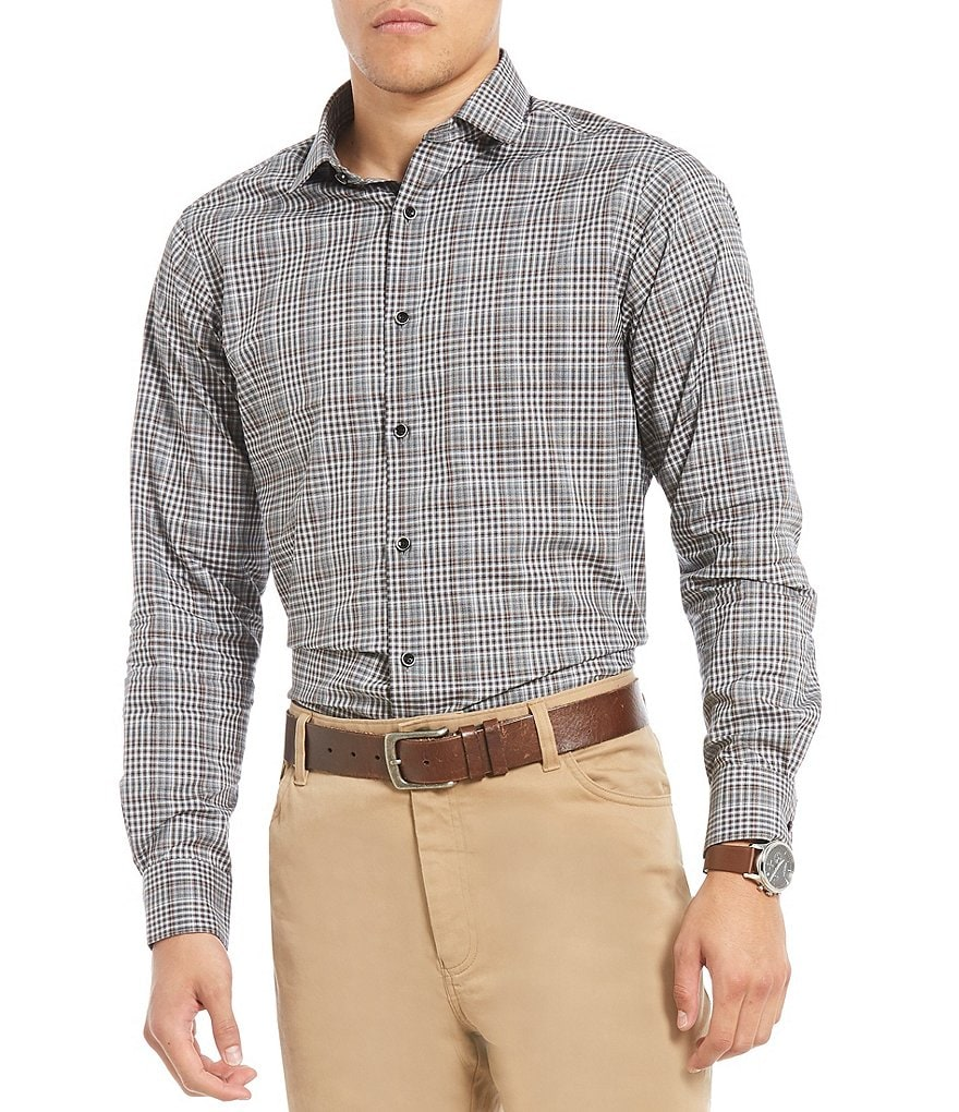 Hart Schaffner Marx Heather Plaid Long-Sleeve Sportshirt