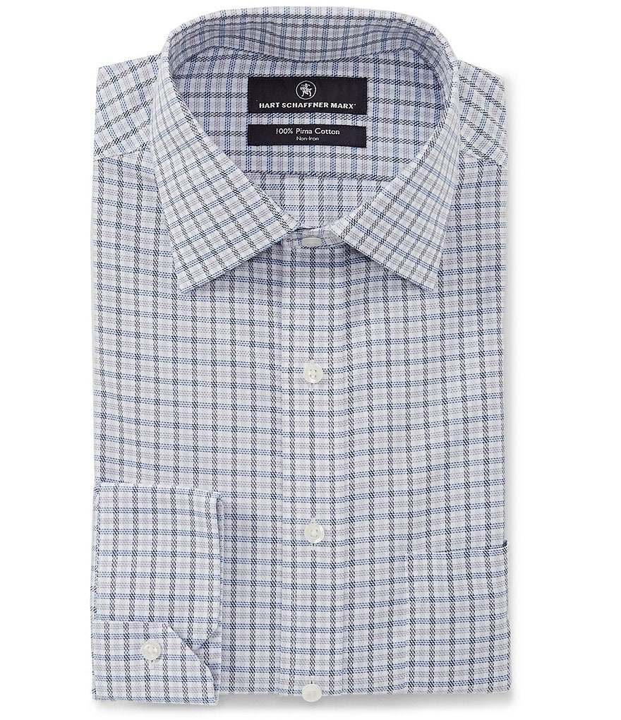 Hart Schaffner Marx Non-Iron Classic Fit Spread Collar Small Checked Dress Shirt