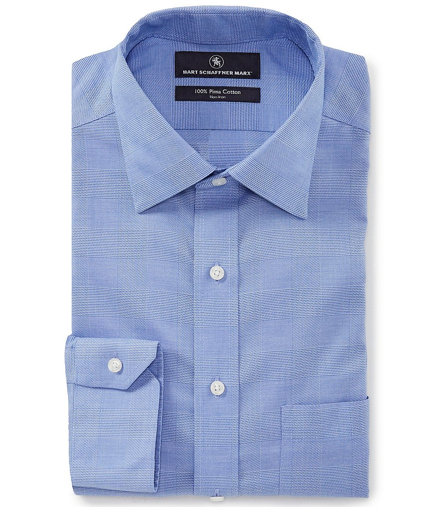 Hart Schaffner Marx Non-Iron Classic Fit Spread Collar Tonal Checked Dress Shirt