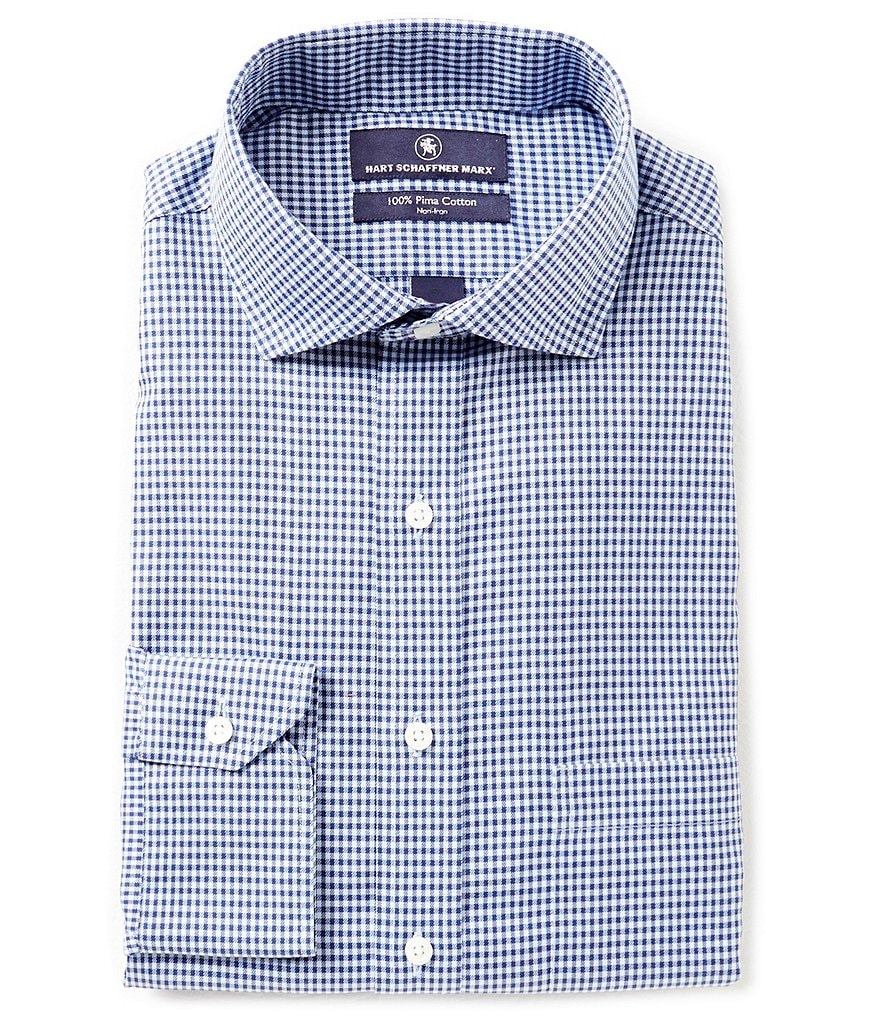 Hart Schaffner Marx Non-Iron Fitted Classic-Fit Cutaway-Collar Gingham Dress Shirt