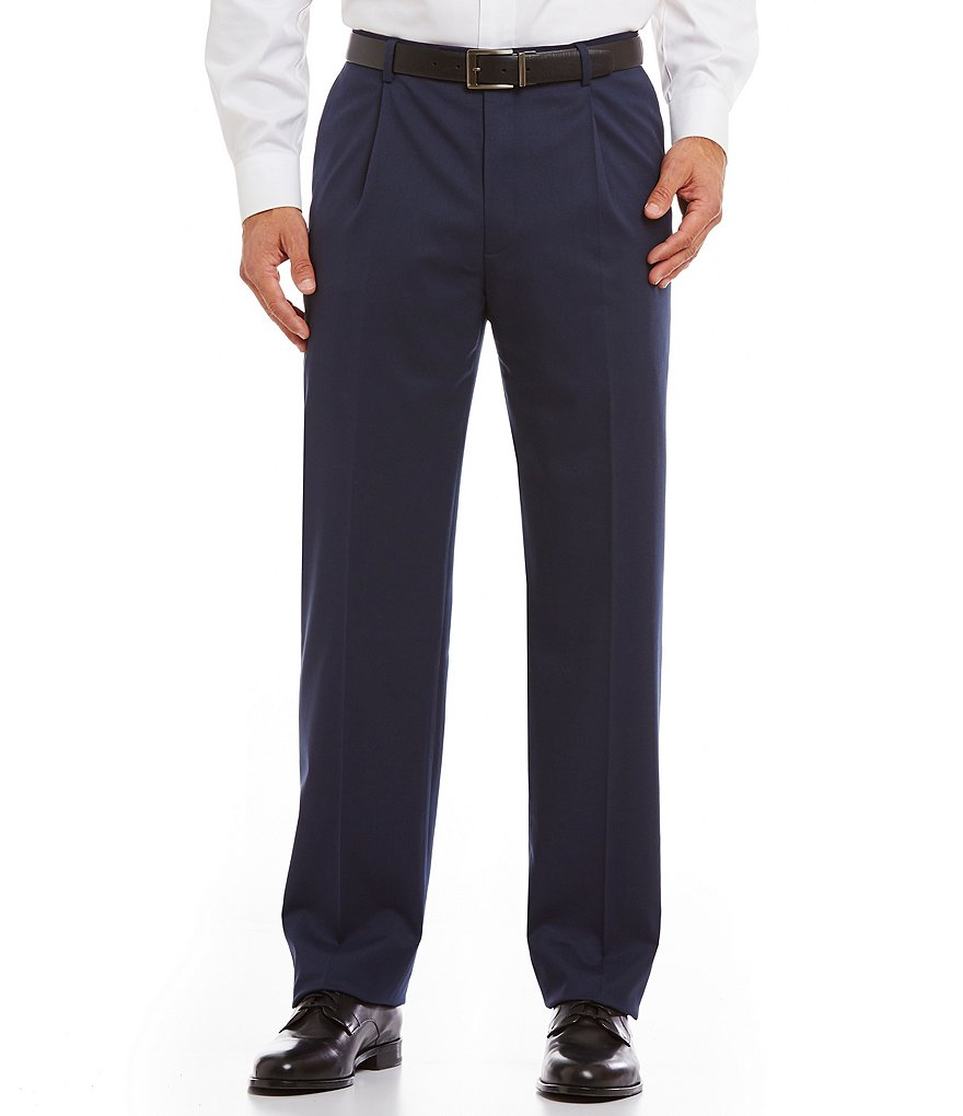 Hart Schaffner Marx Tailored Single-Pleat Chicago Wool Dress Pants
