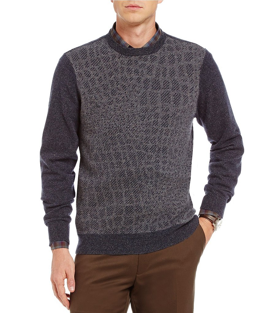 Hart Schaffner Marx Textured Cashmere Long-Sleeve Sweater