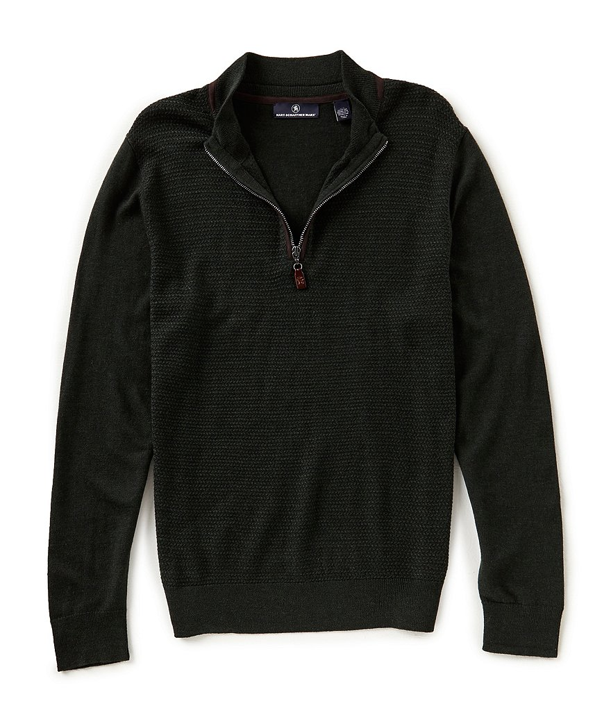 Hart Schaffner Marx Textured Quarter Zip Sweater