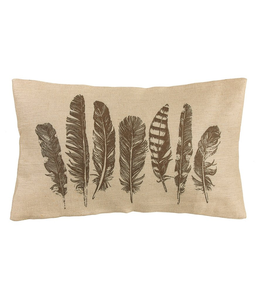 HiEnd Accents Feather Burlap Pillow