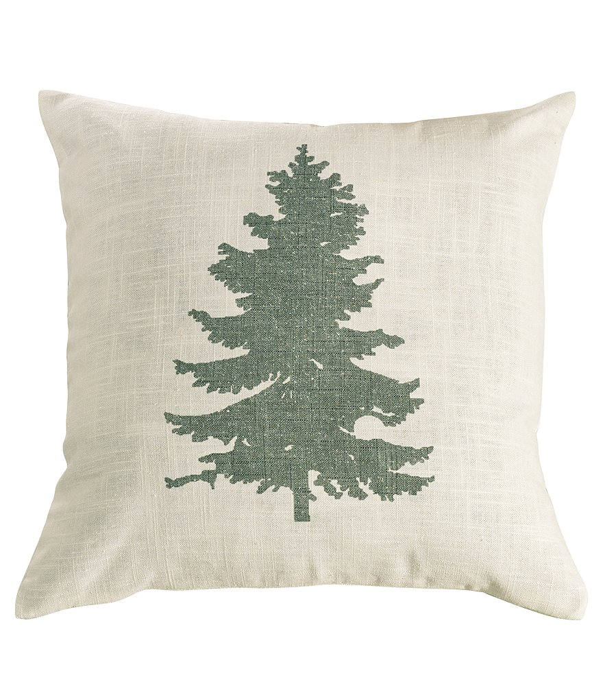 HiEnd Accents Hill Country Pine Tree Linen Square Pillow