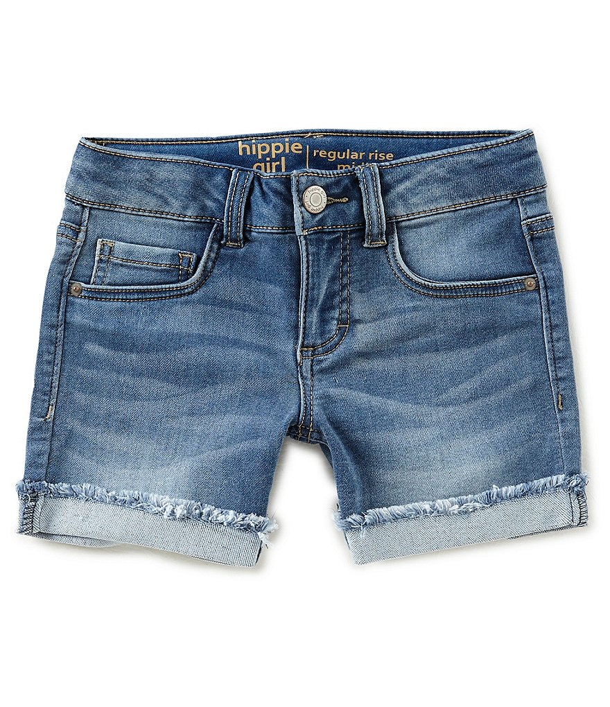 Hippie Girl Big Girls 7-16 Cuff-Hem Denim Shorts