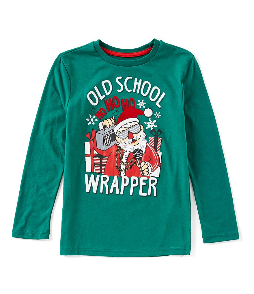 Hollywood Little Boys 2T-7 Old School Wrapper Santa Holiday Long Sleeve Tee