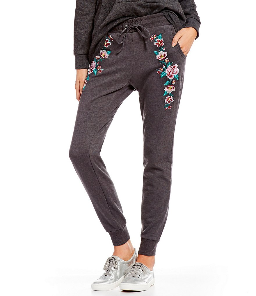 Honey & Sparkle Cozy Fleece Embroidered Jogger Pants