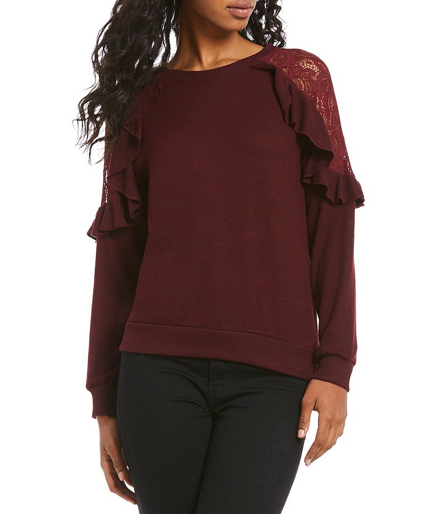 Honey & Sparkle Cozy Lace Cold Shoulder Ruffle Sweatshirt