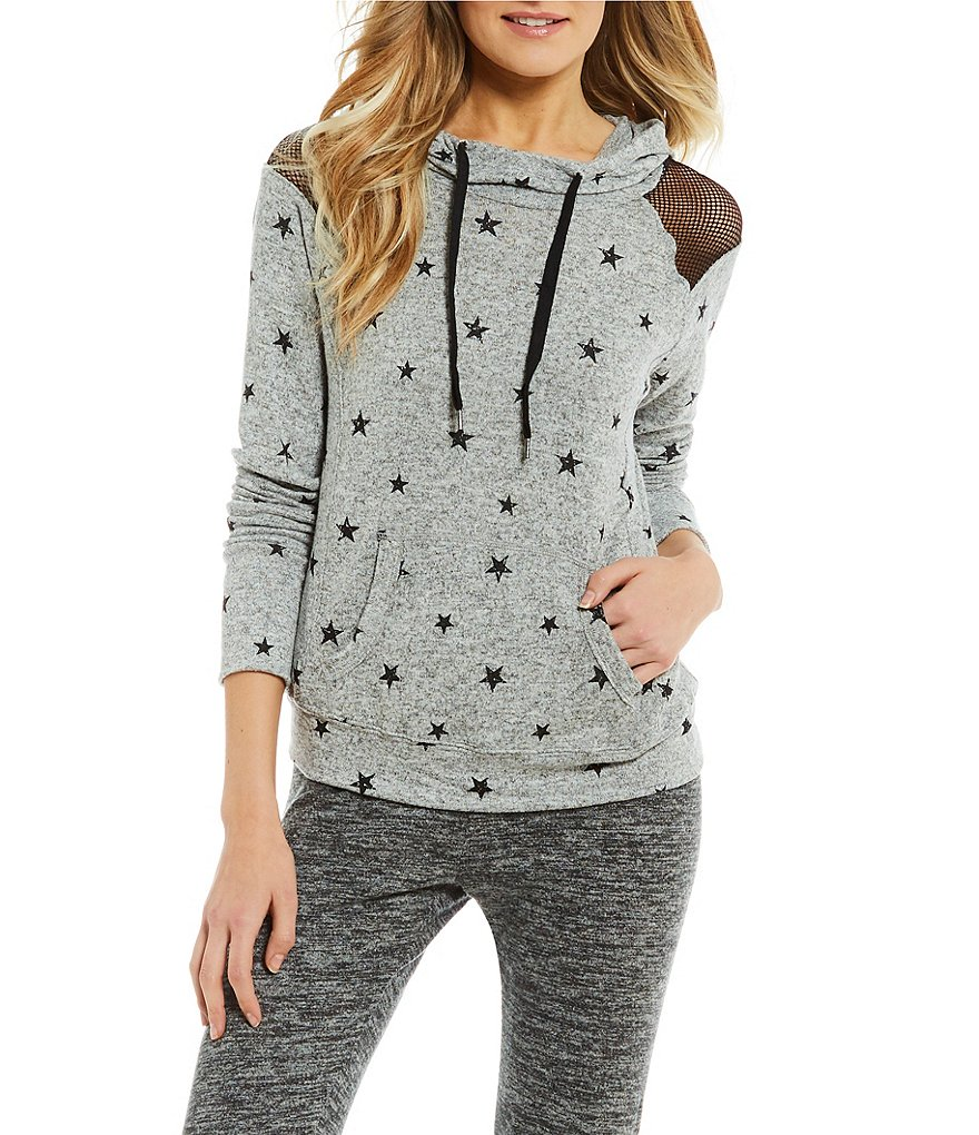 Honey & Sparkle Cozy Star Printed Mesh Hooded Sweatshirt