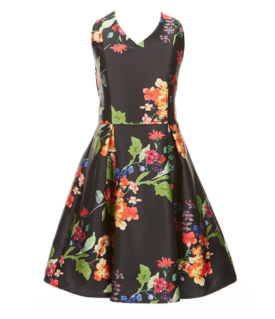 Honey and Rosie Big Girls 7-16 Floral Fit-and-Flare Dress
