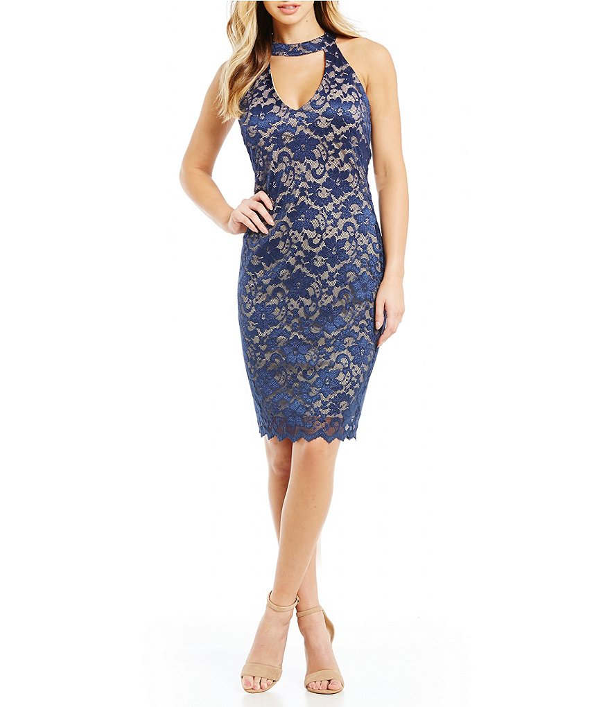 Honey and Rosie Choker Neck Two-Tone Lace Sheath Dress