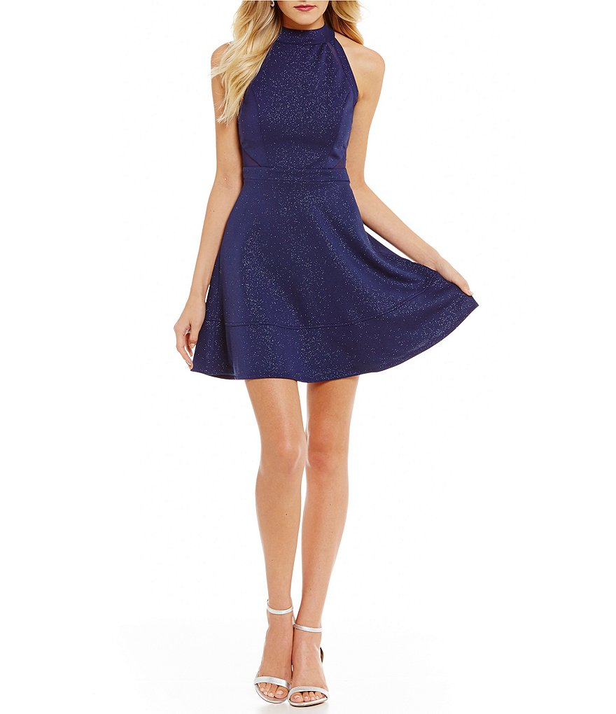 Honey and Rosie Glitter-Accented Fit-And-Flare Dress