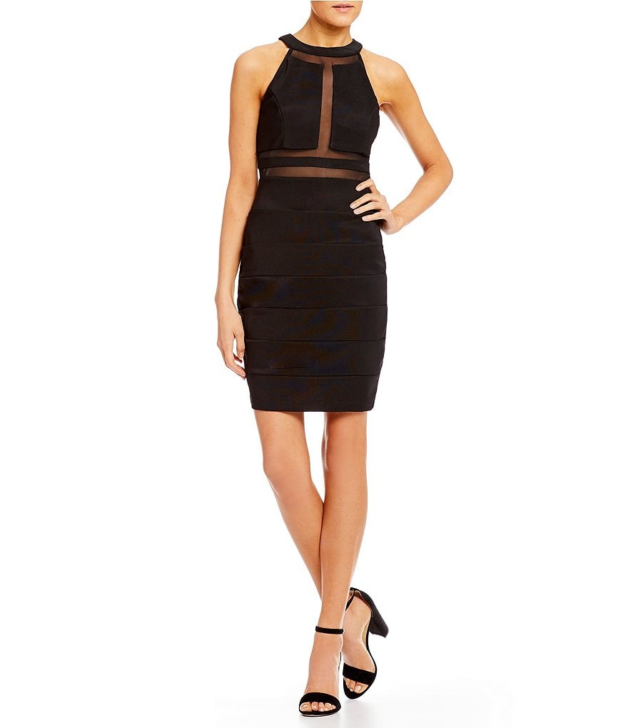 Honey and Rosie High-Neck Banded Sheath Dress