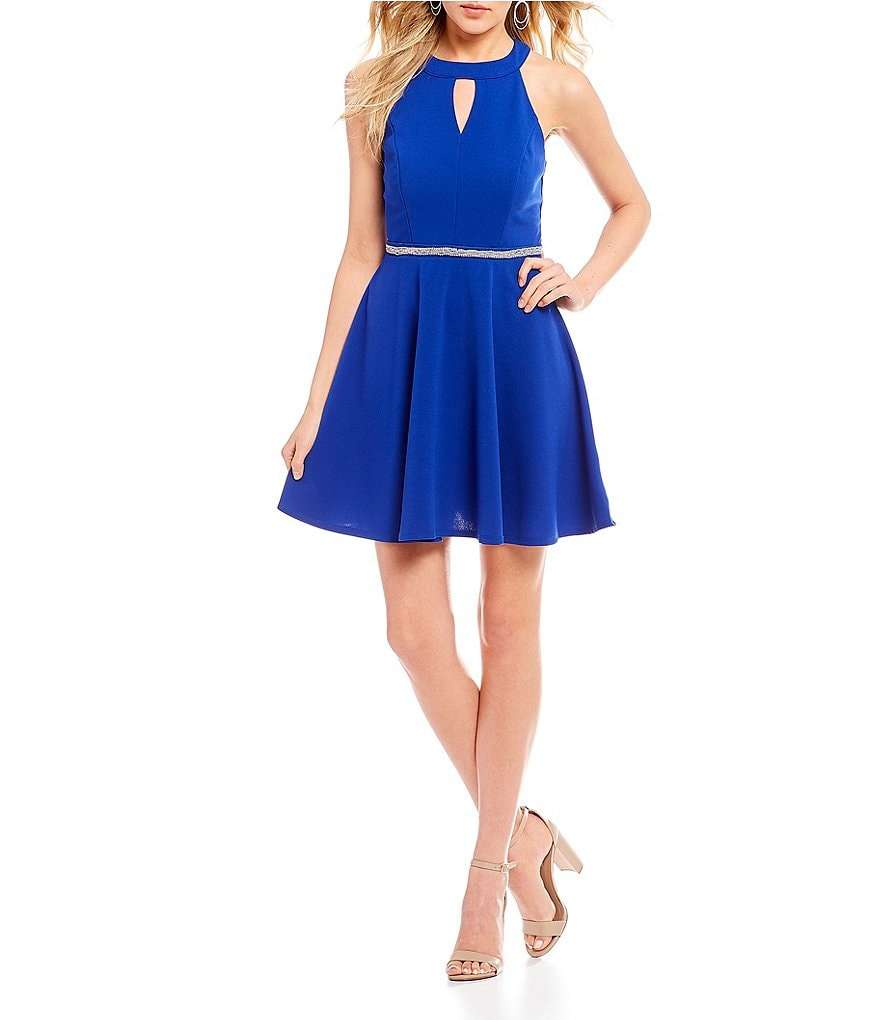 Honey and Rosie High-Neck Fit-And-Flare Dress