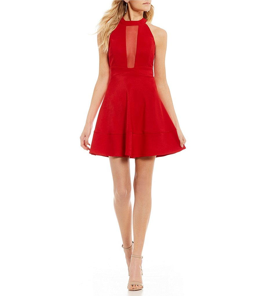Honey and Rosie Illusion-Inset Ottoman Fit-And-Flare Dress