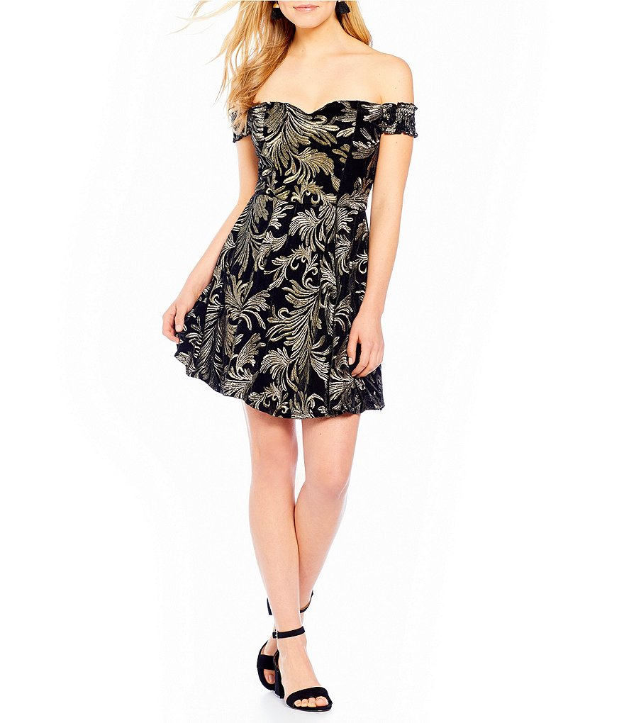 Honey and Rosie Off-The-Shoulder Embroidered Velvet Fit-And-Flare Dress