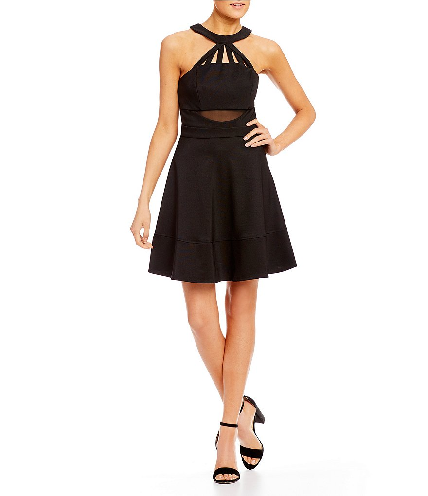Honey and Rosie Strappy Illusion Fit-And-Flare Dress