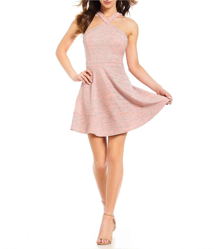 Honey and Rosie Y-Neck Glitter Ottoman Fit-And-Flare Dress