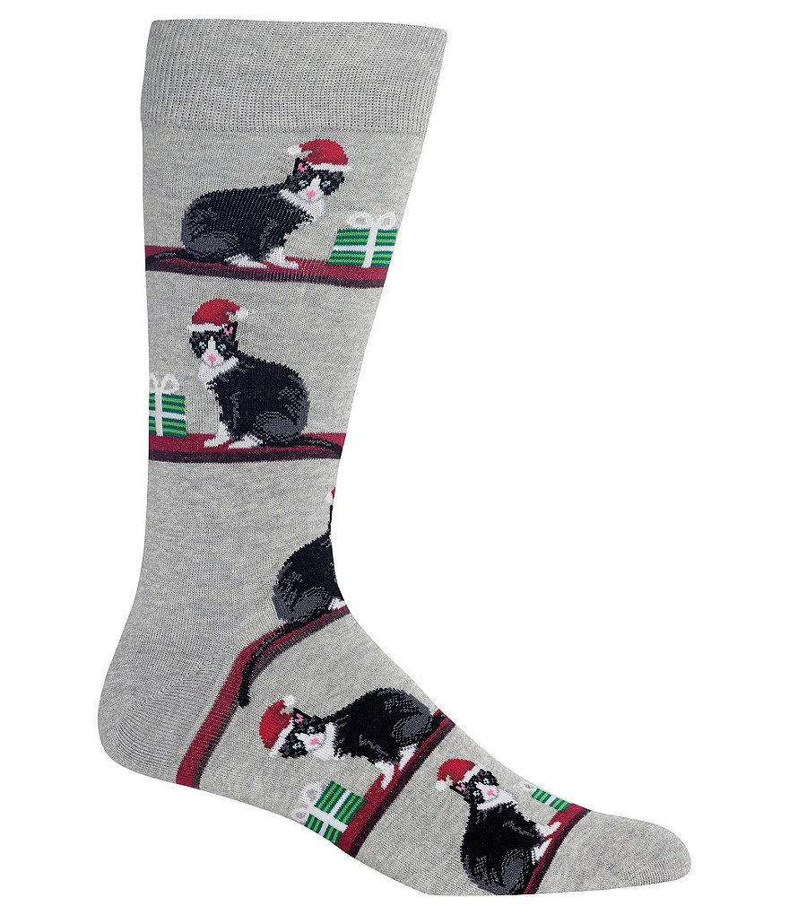 Hot Sox Novelty Christmas Cat Crew Socks