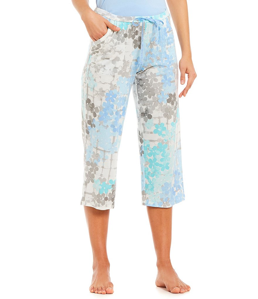 HUEtique Flower Hedge-Print Capri Sleep Pants