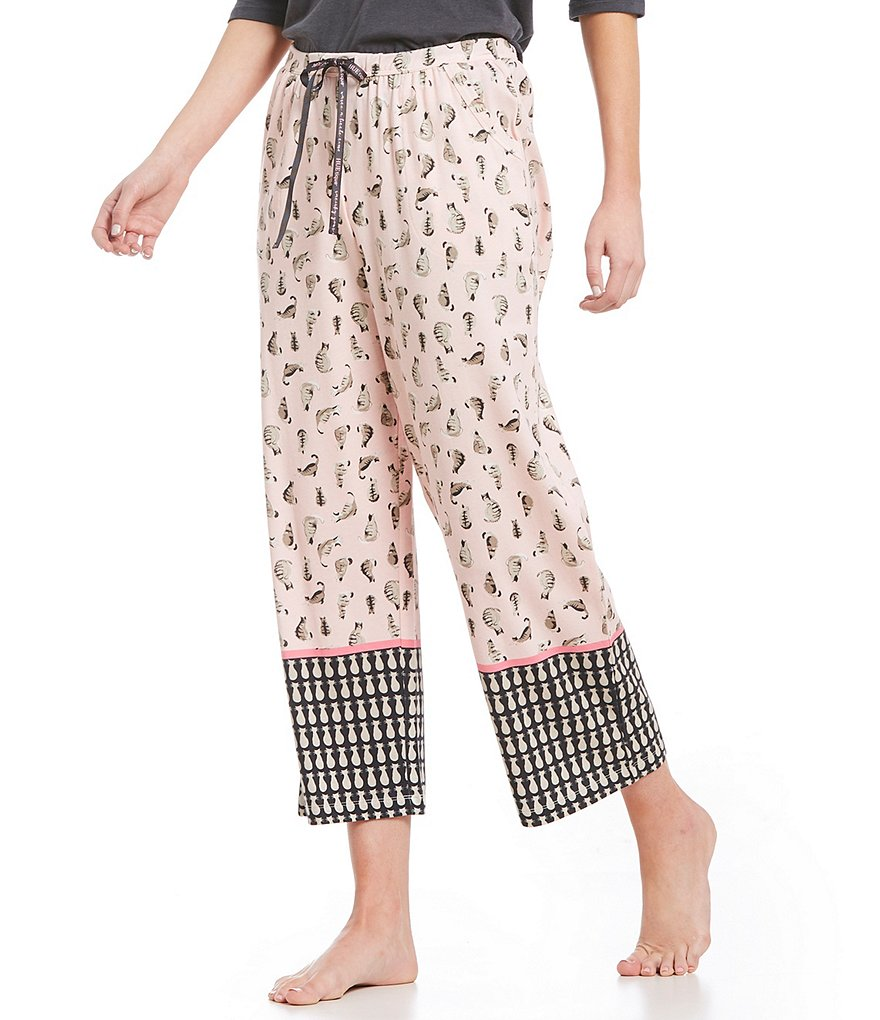 HUEtique Cat-Border Print Capri Sleep Pants
