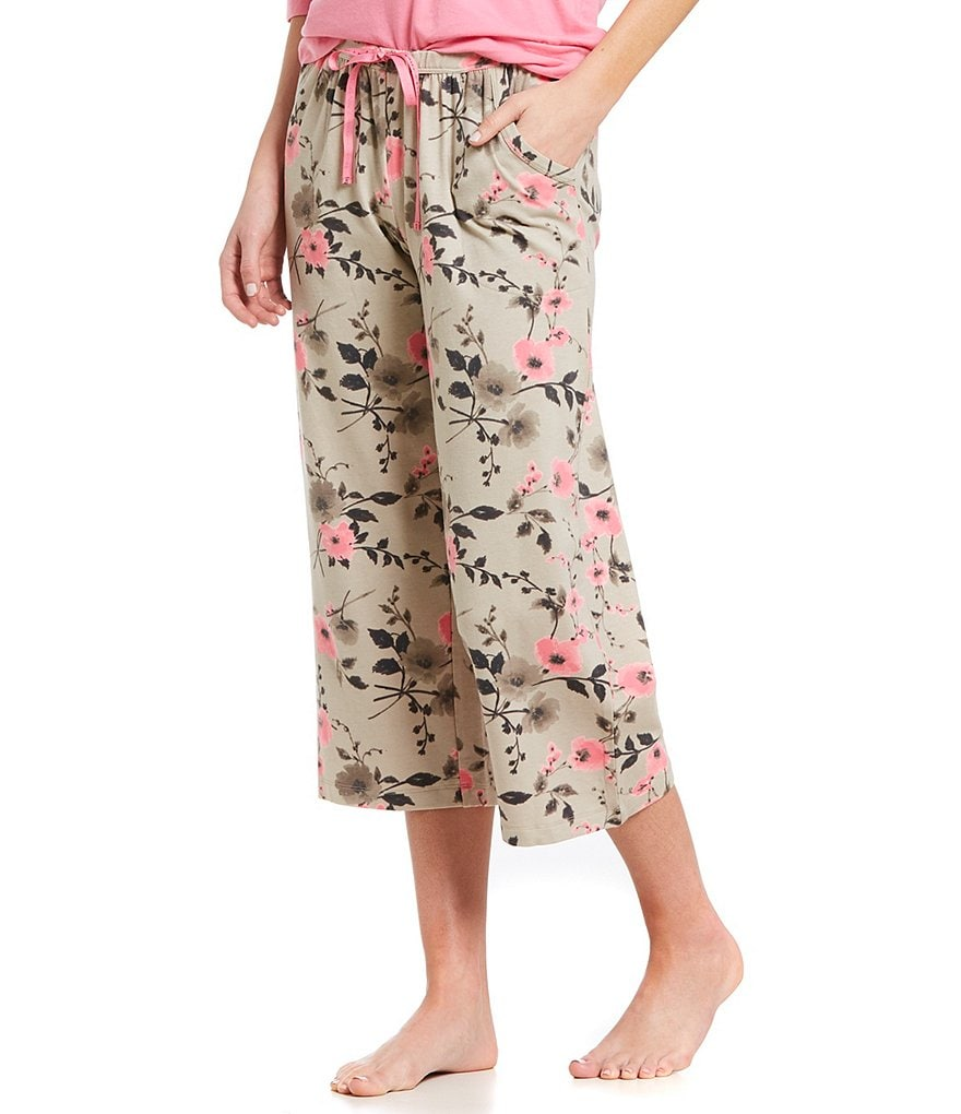HUEtique Floral Pop Print Capri Sleep Pants