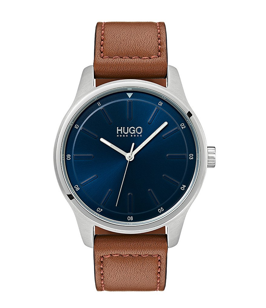 a29685183568 HUGO HUGO BOSS #Dare Brown Leather Strap Watch | Dillard's