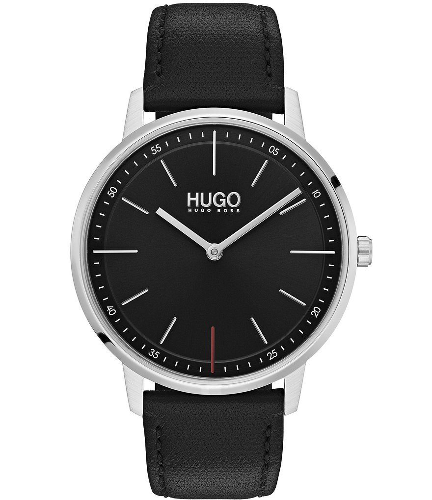 HUGO by Hugo Boss #Exist 2-Hand Black Leather Strap Watch