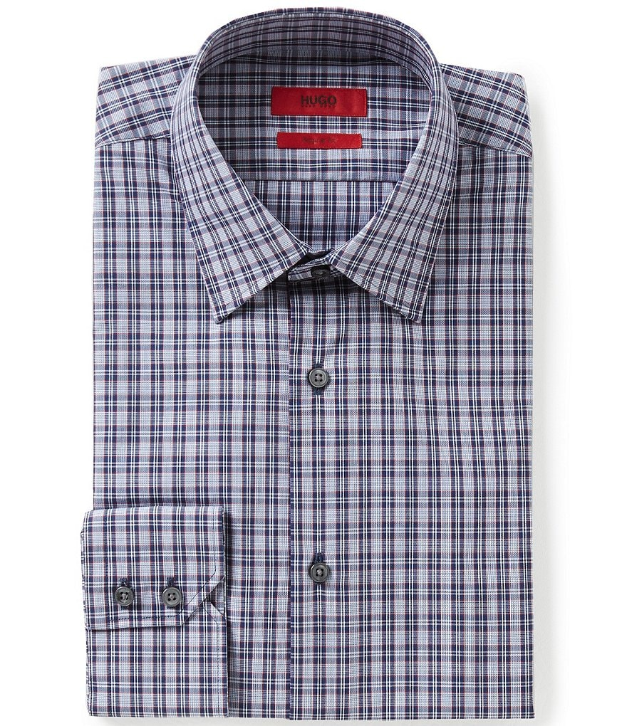 HUGO Hugo Boss C-Menzo Fitted Classic-Fit Point Collar Plaid Check Dress Shirt