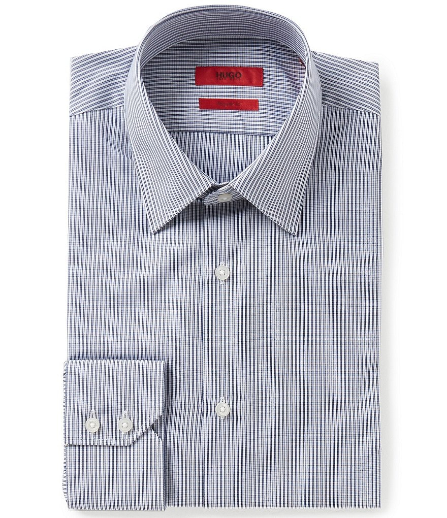 HUGO Hugo Boss C-Menzo Fitted Classic-Fit Point Collar Striped Dress Shirt