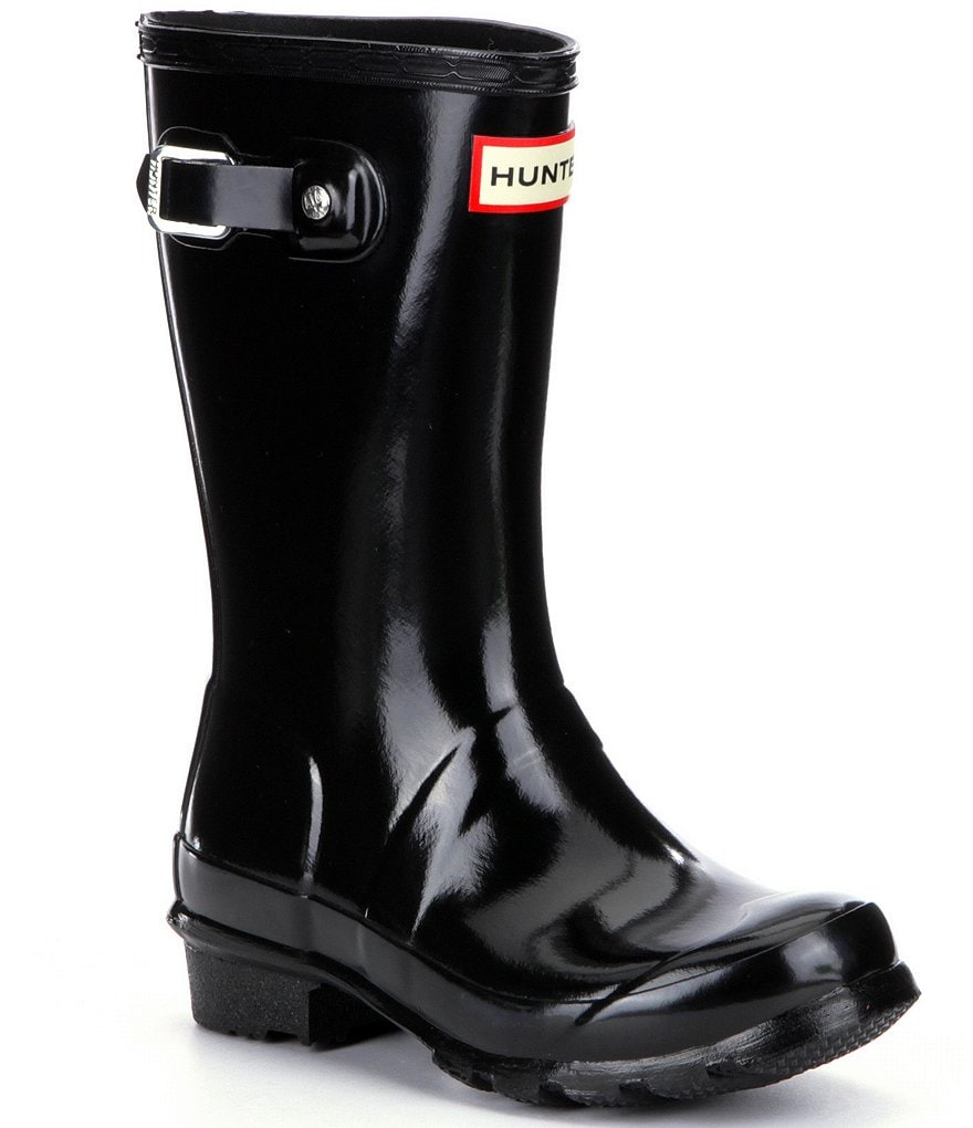 Hunter Original Gloss Kid's Waterproof Buckle Strap Rain Boots