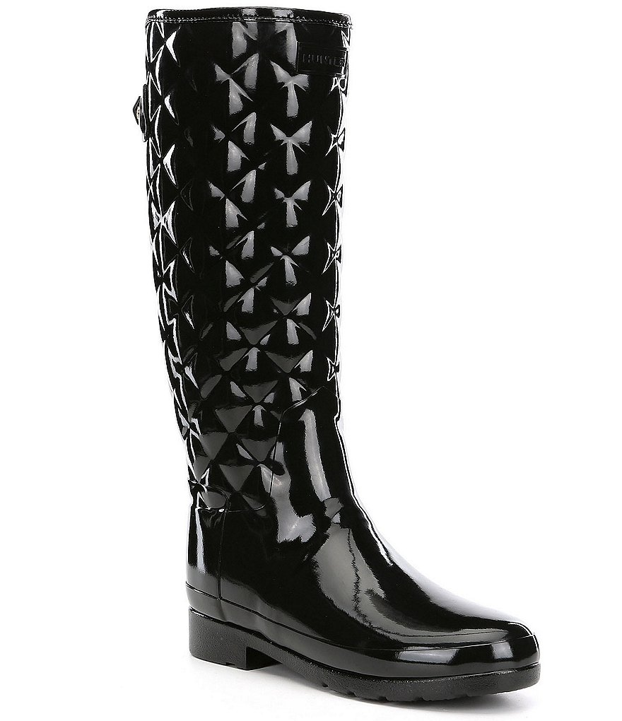 2e68a304c14 Hunter Tall Refined Quilted Gloss Rain Boots