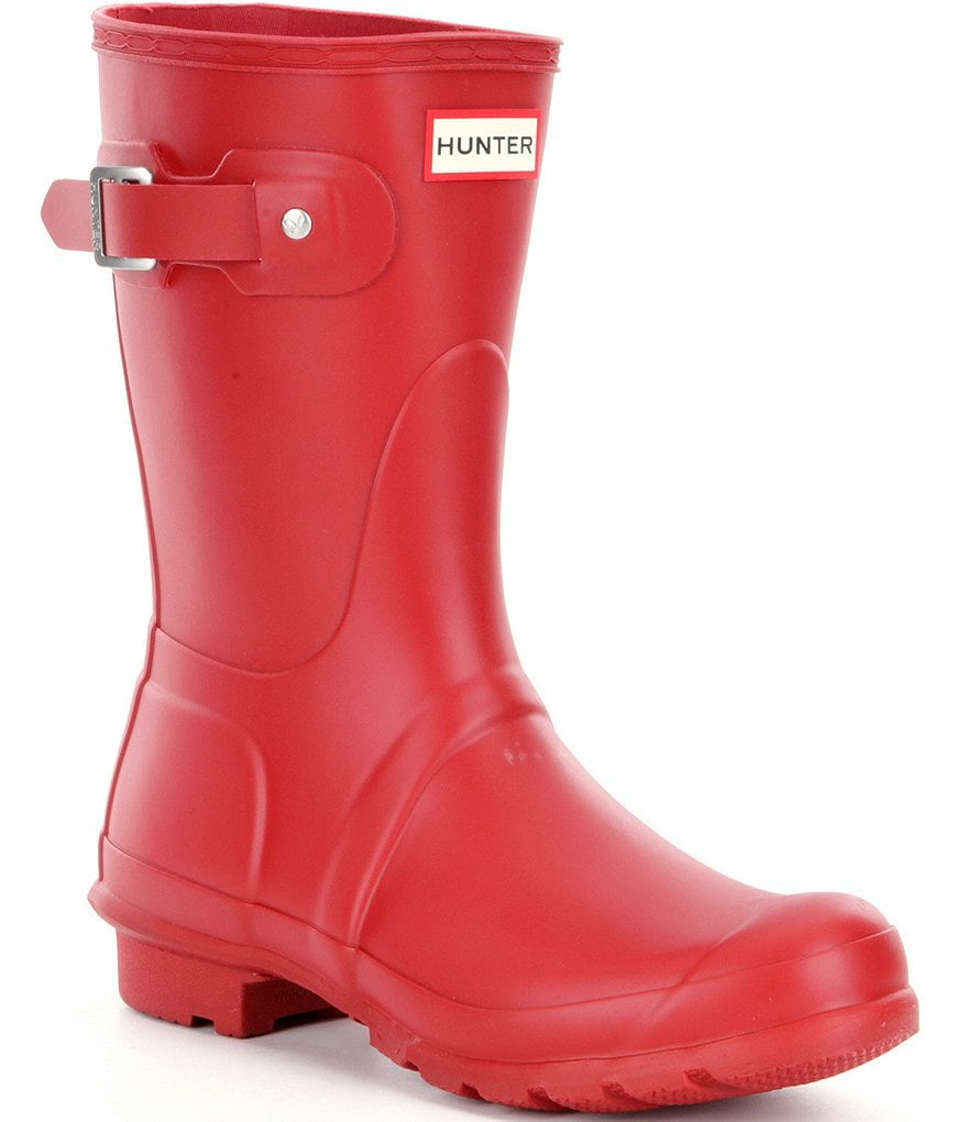 Hunter Womens Original Short Matte Buckle Strap Rain Boots