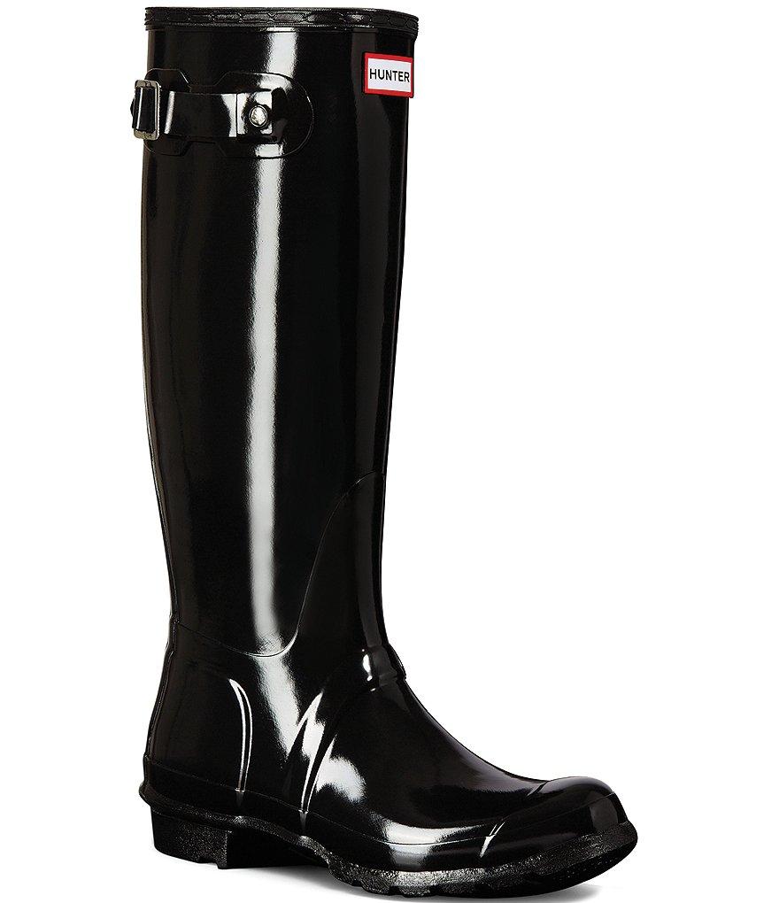 a2cec2b4463b Hunter Women s Original Tall Gloss Buckle Strap Rain Boots