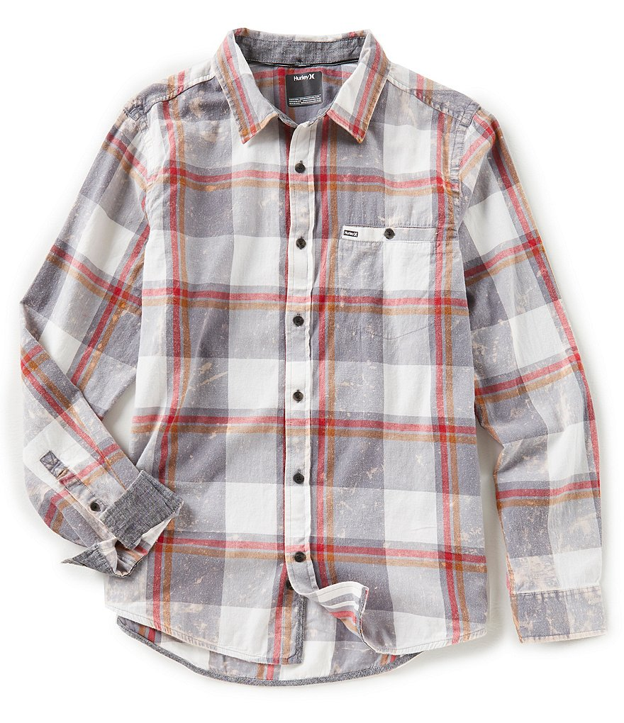 Hurley Burnside Long-Sleeve Plaid Washed Flannel Shirt