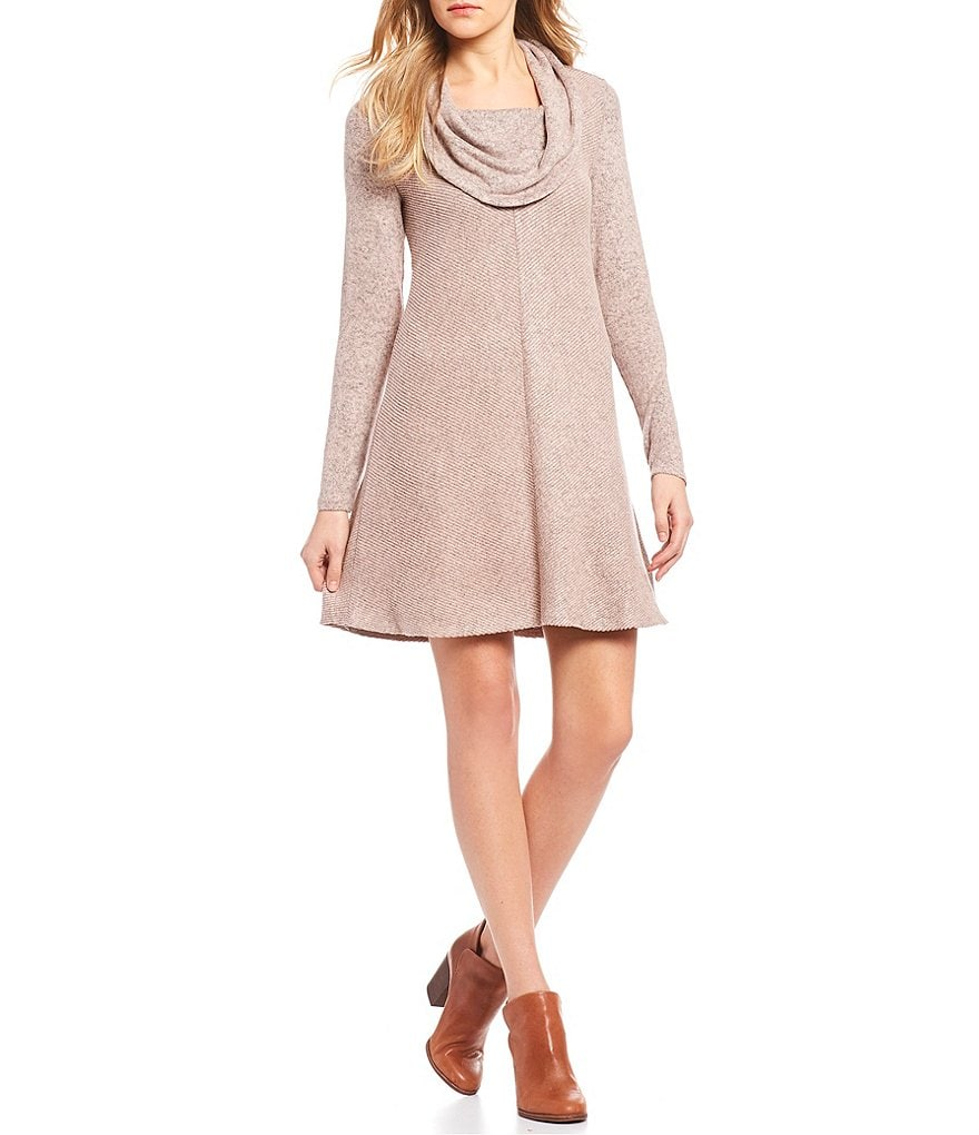 I.N. San Francisco Cowlneck Fuzzy Ribbed Sweater Dress