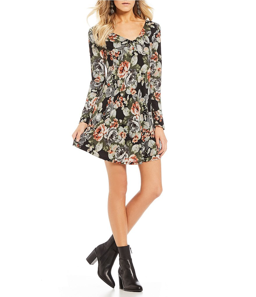 I.N. San Francisco Floral Print Cozy Fuzzy-Knit Shift Dress