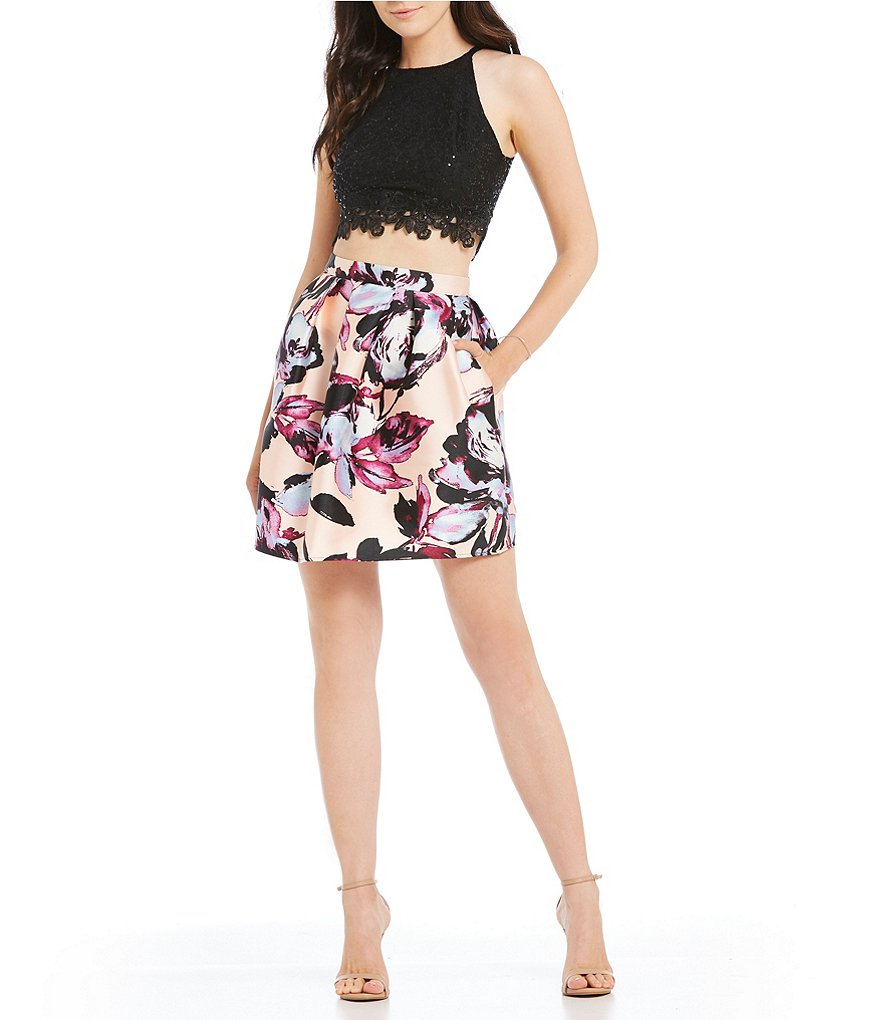 I.N. San Francisco Sequin Lace Top with Floral Print Skirt Two-Piece Dress