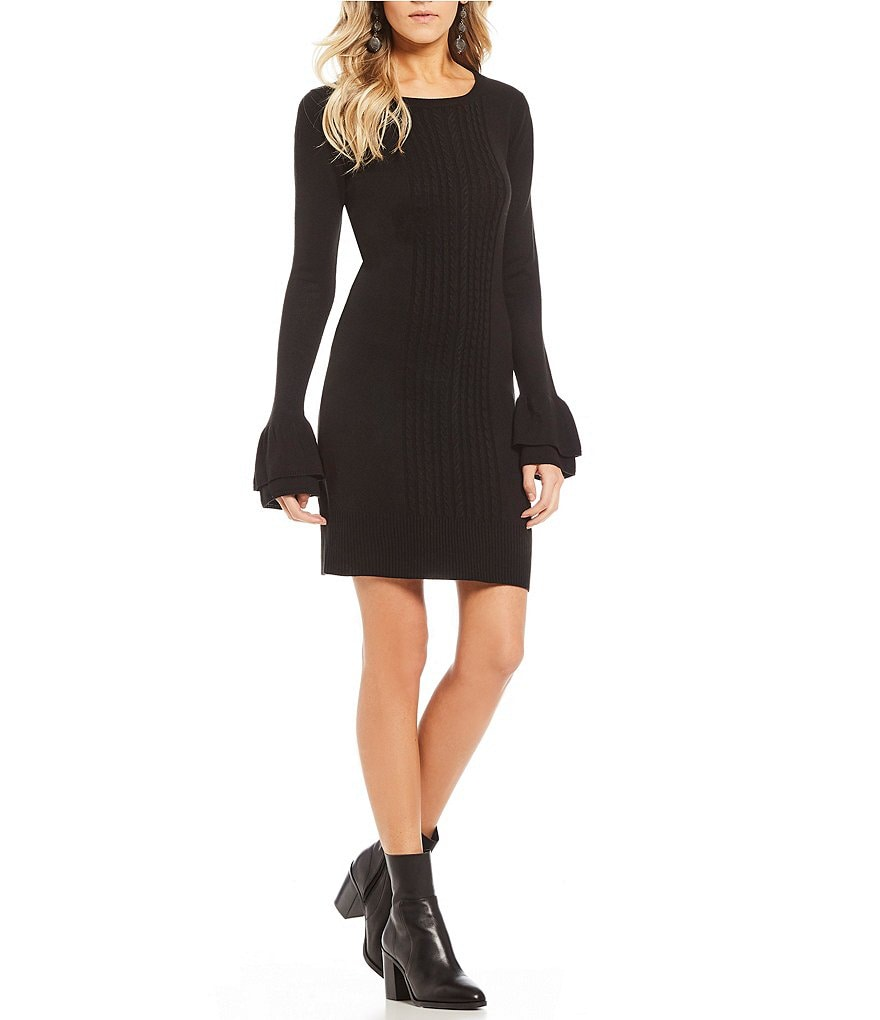 I.N. San Francisco Tiered Bell Cuff Solid Sweater Dress
