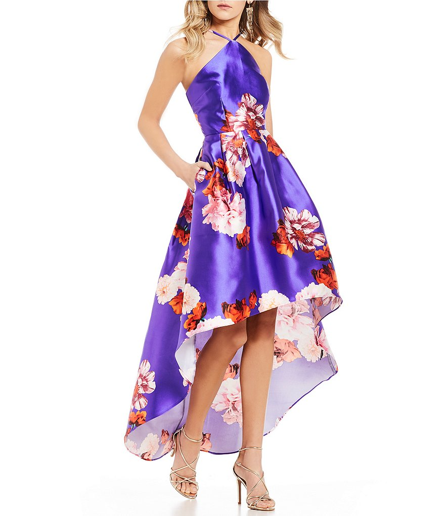 I.N. San Francisco Y-Neck Floral High-Low Dress
