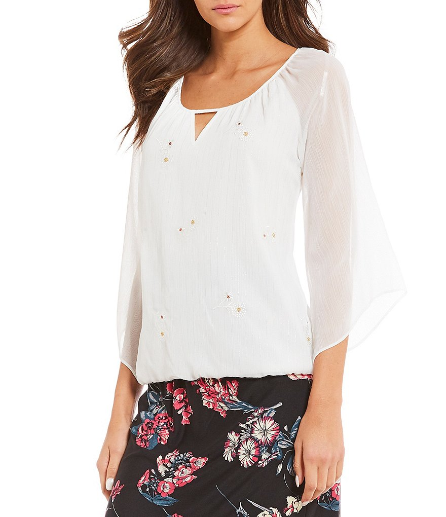 I.N. Studio Keyhole 3/4 Sleeve Solid Floral Embroidered Lurex Detail Top