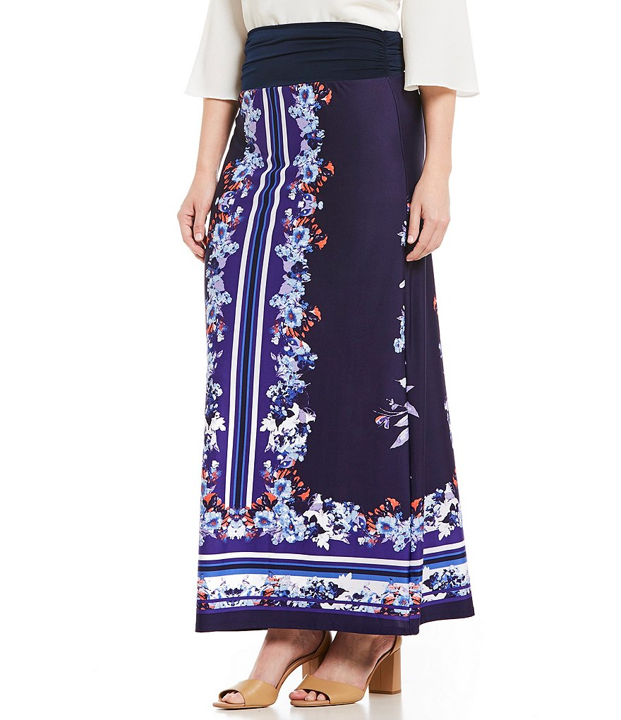 I.N. Studio Mirrored Floral Border Placement Print Pull-On Knit Skirt