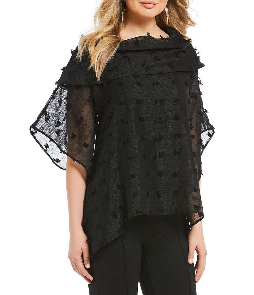 IC Collection Short Sleeve Eyelash Fabric Cowl Neck Top