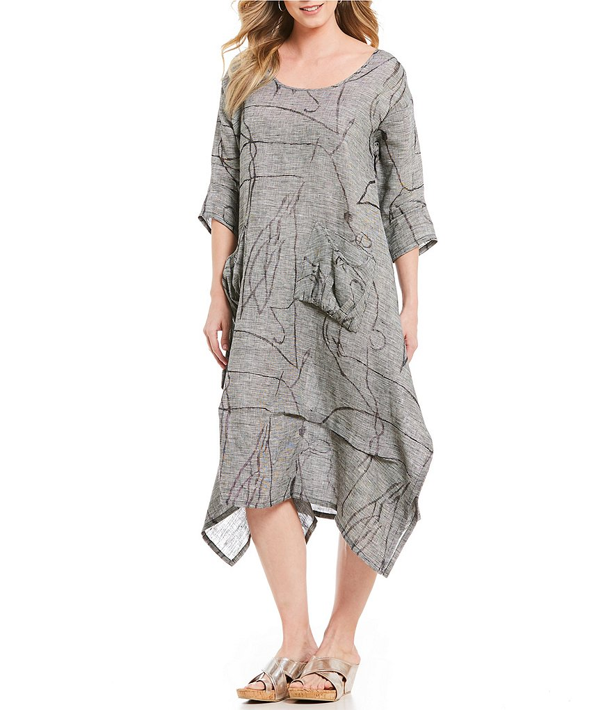 IC Collection 3/4 Sleeve Jaquard Dress