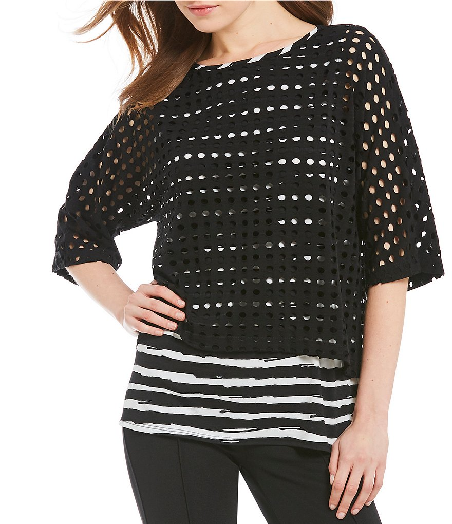 IC Collection 3/4 Sleeve Layered Webb Top