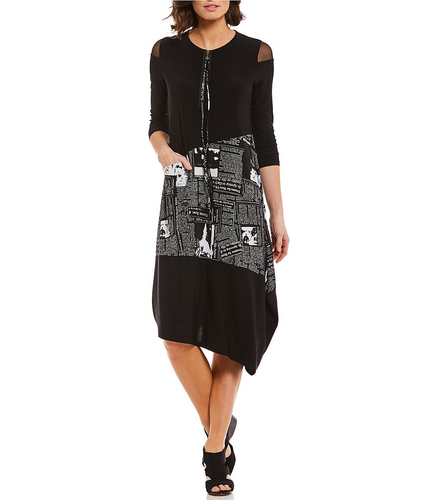 IC Collection 3/4 Sleeve Newspaper Print Mesh Shoulder Dress