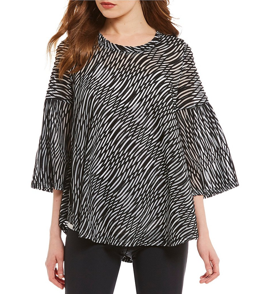IC Collection 3/4 Sleeve Wave Swirl Print Top